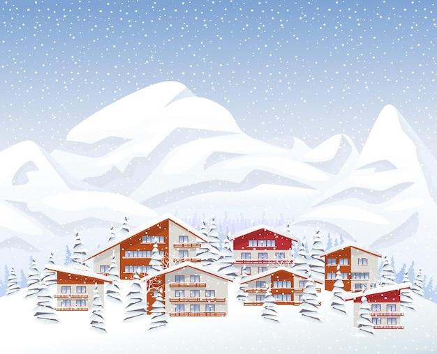 Estância de esqui de montanha no inverno a nevar.