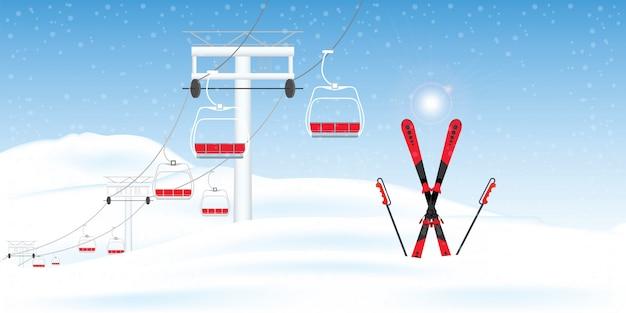 Estância de esqui do inverno com a paisagem movente do inverno do esqui-elevador.