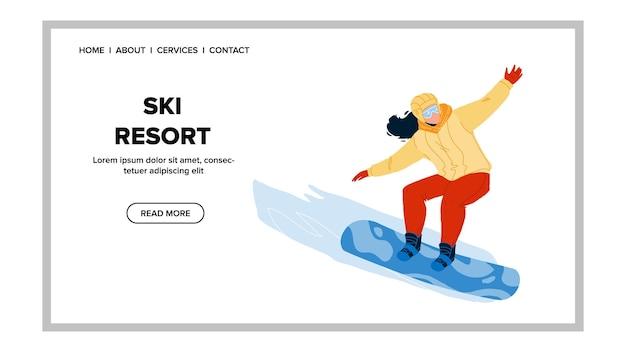 Estância de esqui e atividade esportiva no vetor da montanha. mulher jovem snowboarder snowboard na estância de esqui de snow hill. personagem esportista extreme lifestyle web flat cartoon ilustração