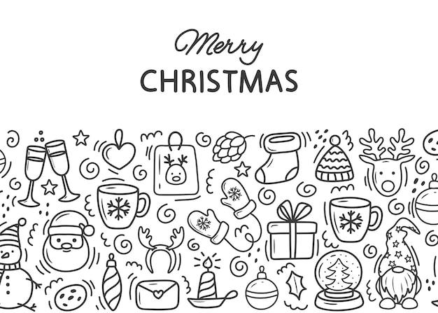 Estandarte de desenhos de natal desenhados à mão com fotos fofas