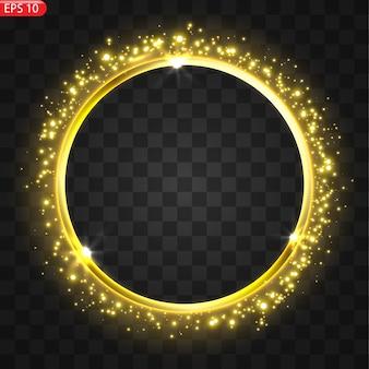 Estandarte uma moldura dourada festiva e brilhante que está coberta de pó de ouro