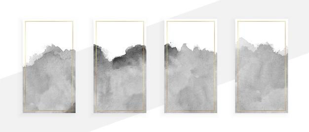 Estandartes cinza em aquarela com um conjunto de quatro