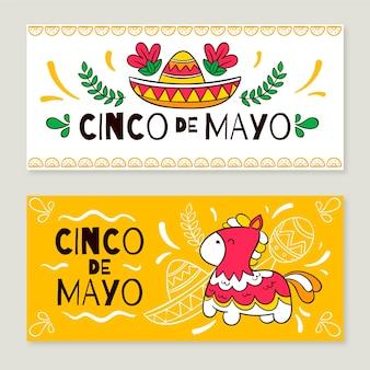 Estandartes de cinco de mayo desenhados à mão