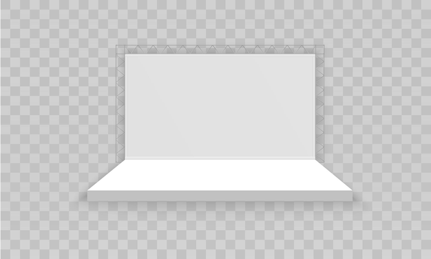 Estande de exposição 3d promocional vazio branco.