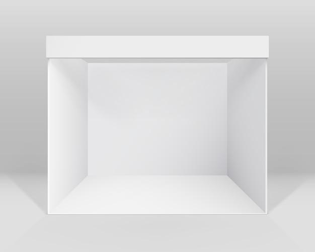 Estande de exposição de comércio interno branco em branco