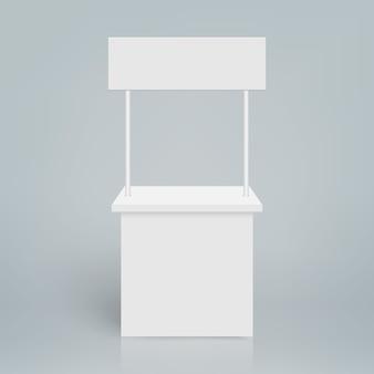 Estande de exposição em branco branco. estande promocional redondo