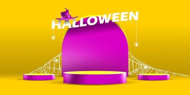 Estande de pódio para mostrar produto com conceito de lápide de halloween