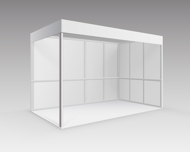 Estande padrão de estande de exposição de comércio interno em branco branco para apresentação em perspectiva isolada no fundo