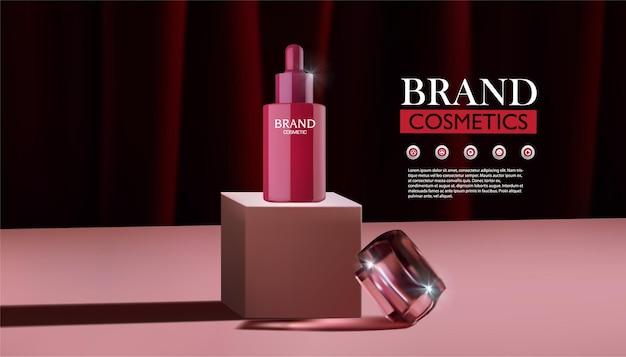 Estande pódio rosa para exposição de produtos cosméticos vermelhos e cremes para a pele com fundo de cortina vermelha