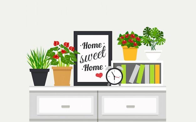Estante com ilustração de plantas de casa