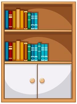 Estante com livros e armário