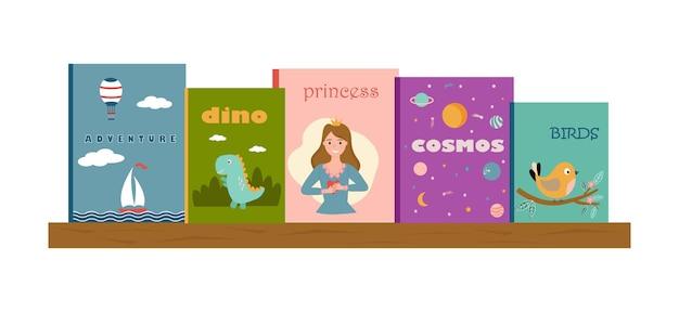 Estante com livros infantis capas ilustradas de livros capas de livros visão frontal dos livros