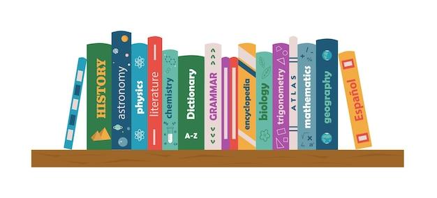 Estante com livros-texto literatura para estudo matemática, biologia, química, história, literatura