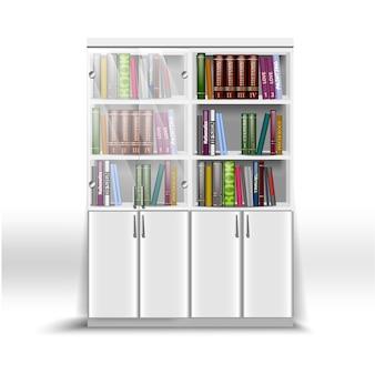 Estante de escritório dupla branca, com um conjunto de livros sobre diversos assuntos