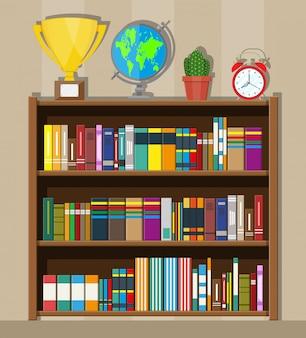 Estante de livros da biblioteca. estante com livros diferentes.