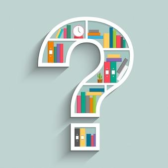 Estante de livros em forma de ponto de interrogação com livros coloridos