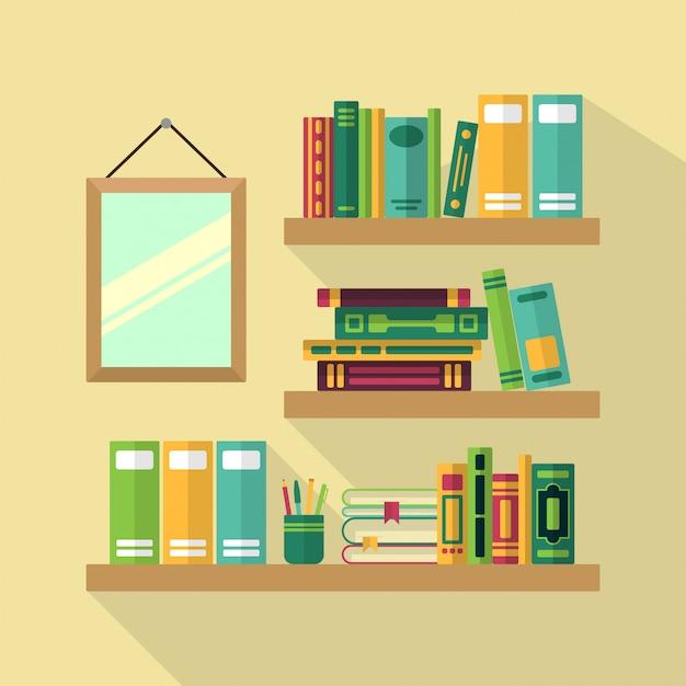 Estante de madeira na biblioteca com livros diferentes.