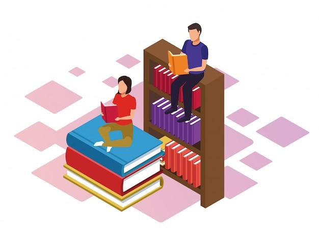 Estante e mulher e homem lendo livros sobre fundo branco, colorido isométrico