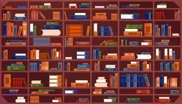 Estante grande com livros. interior de prateleira de livro de biblioteca