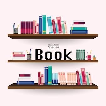 Estantes com livros coloridos e artigos de papelaria na parede rosa