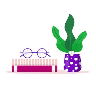 Estantes com livros favoritos, planta de escritório, vaso e copos. livro de prateleira na biblioteca da sala, livro de leitura para casa com local de trabalho para educação. ilustrações modernas e planas de vetor