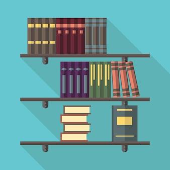 Estantes de livros com muitos livros de trabalhos coletados em vários volumes. conceito de leitura, literatura, educação, livraria e biblioteca. ilustração em vetor eps 8, sem transparência