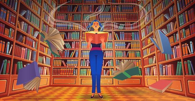 Estantes de livros da biblioteca com uma menina e uma ilustração de desenhos animados de livros voadores