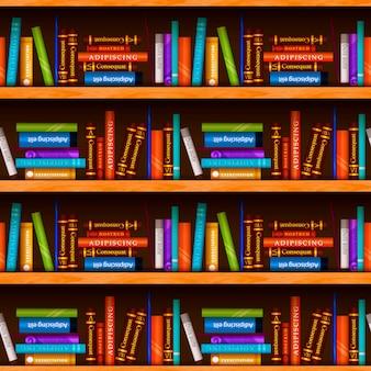 Estantes de madeira com diferentes livros coloridos, padrão sem emenda