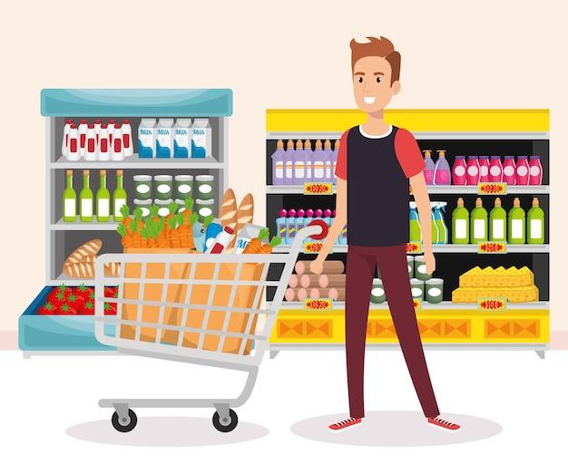 Estantes de supermercado com a compra do homem