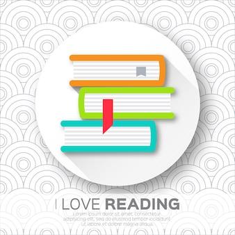Estantes em forma de círculo com livros coloridos. lendo. eu amo livros.