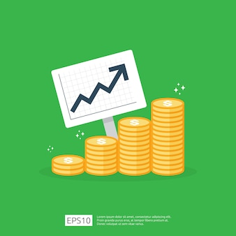 Estatística de aumento da taxa de dólar do salário de renda. receita de margem de crescimento de lucro comercial. financie o desempenho do conceito de roi de retorno do investimento com seta. custo venda ícone estilo simples