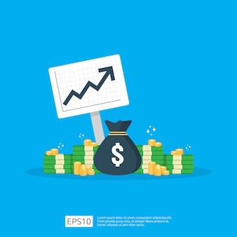 Estatística de aumento da taxa de dólar do salário de renda. receita de margem de crescimento de lucro comercial. financie o desempenho do conceito de roi de retorno do investimento com seta.
