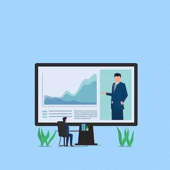 Estatística de empresa presente homem via videoconferência e gerente ouvir no monitor. ilustração de conceito plana de negócios.