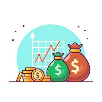 Estatística de investimento com ilustração de dinheiro. finanças de investimento de crescimento, branco de conceito de ícone de negócios isolado.