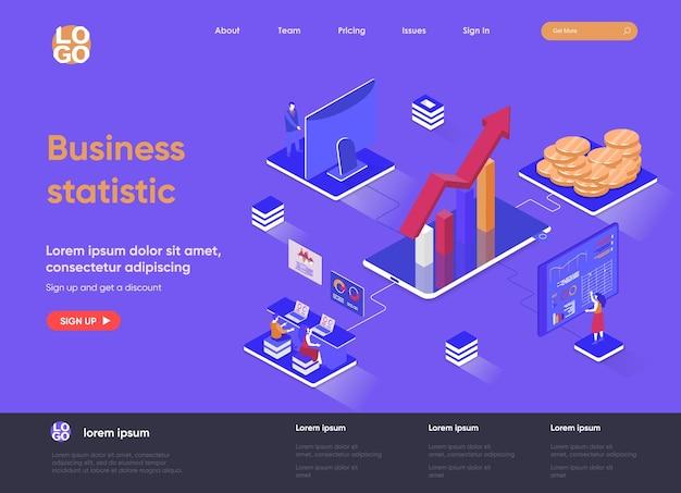 Estatística de negócios ilustração isométrica da página de destino em 3d com personagens de pessoas