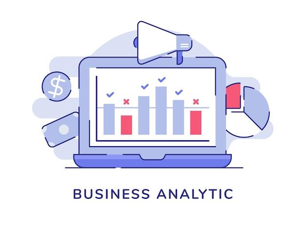 Estatística do gráfico de barras do conceito analítico de negócios na tela do laptop com fundo branco isolado