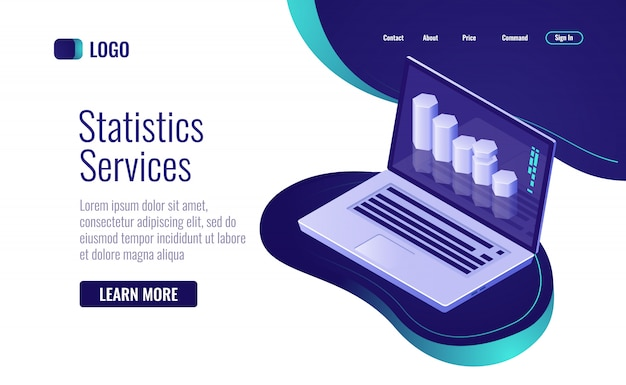 Estatística on-line e processamento de dados, gráfico de barras de informações na tela do laptop