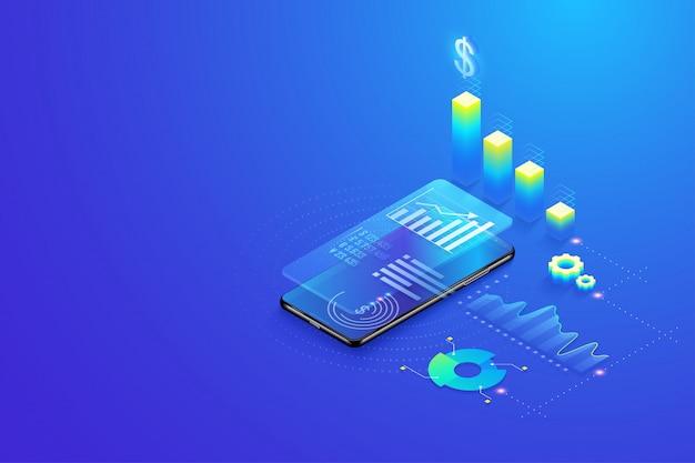 Estatísticas de análise de dados móveis 3d isométricas