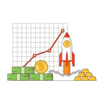 Estatísticas de crescimento de receita de criptomoeda.
