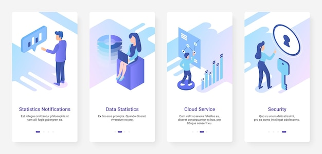 Estatísticas de dados, ux de serviço de nuvem de segurança, conjunto de telas de aplicativos móveis de integração de iu