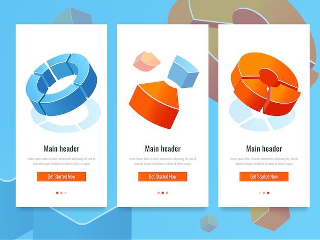 Estatísticas de negócios, banner com diagrama de círculo, analytics e informação estatística