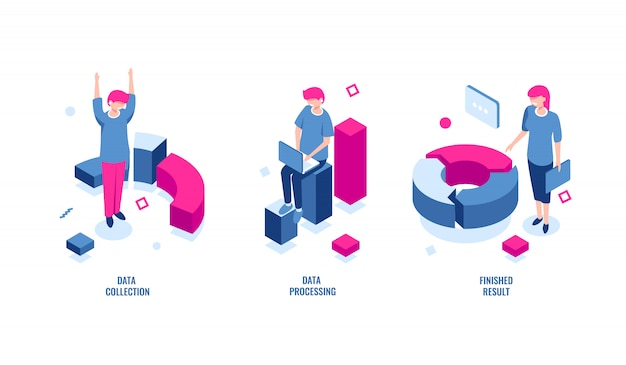 Estatísticas de negócios, coleta de dados e processamento de dados ícone isométrica, resultado final