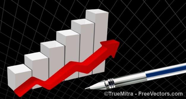 Estatísticas de negócios com seta vermelha