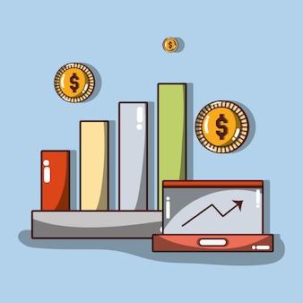 Estatísticas de negócios com setas e moedas