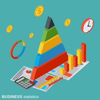Estatísticas de negócios plano isométrico vector conceito ilustração