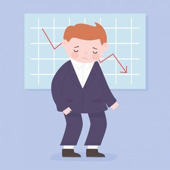 Estatísticas do empresário falido para baixo seta processo de negócios crise financeira