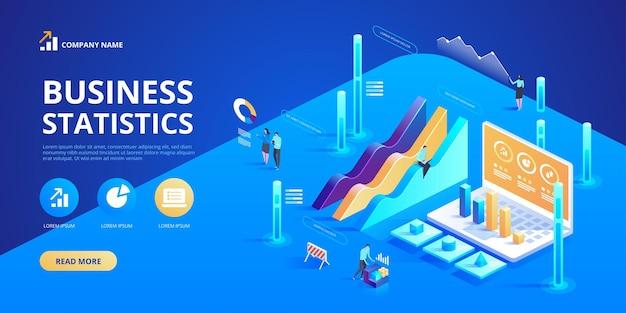 Estatísticas e declaração de negócios. infográficos isométricos para ba