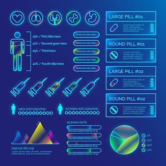 Estatísticas e gráficos médicos infográfico