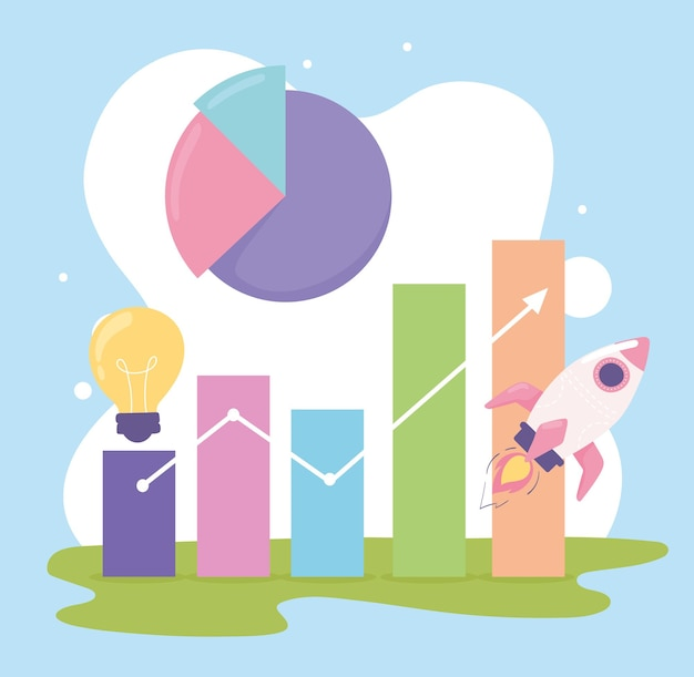 Estatísticas geram um gráfico de inicialização de sucesso de negócios