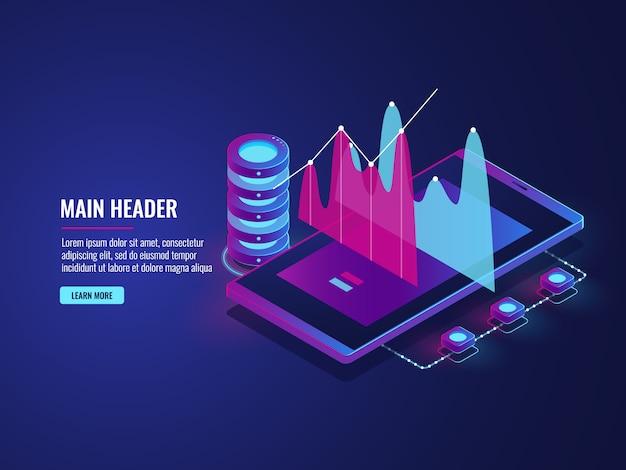 Estatísticas on-line e análise de dados, armazenamento em nuvem, aplicativo de celular para o trabalho, comércio